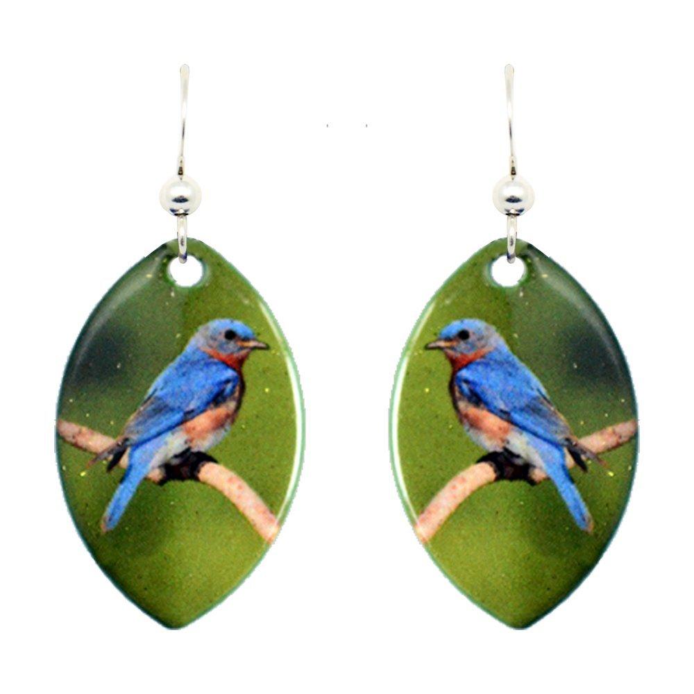Eastern Bluebird Earrings by dears Non-Tarnish Sterling Silver French Hook Ear Wire