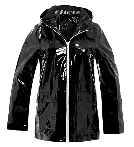 0b7bc0d2f7359 Image Unavailable. Image not available for. Colour: Womens Rain Mac  Waterproof Vinyl Patent Raincoat Jacket Size 8 10 12 14 16