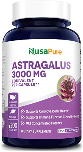 Astragalus 3000mg Per Caps 200 Veggie Capsules Vegetarian, Non-GMO Gluten Free Max Strength - Supports Cardiovascular Health, Boosts Immune Function