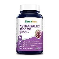 Astragalus 3000 mg Per Caps 200 Veggie Capsules (Vegetarian, Non-GMO & Gluten-Free...