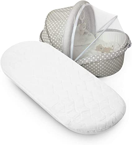 Moses Basket Oval Shaped MATTRESSES Basket Foam Mattress Bassinet Baby Fully Breathable Quilted 65 X 28 X 3.5 cm