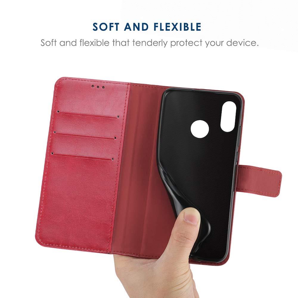 Chiusura Magnetica Simpeak Cover Compatible per Xiaomi Redmi Note 7// Redmi Note 7 PRO 6,3 Nero Supporto Stand Custodia Xiaomi Redmi Note 7 Note 7 PRO in Pelle Portafoglio con Supporto
