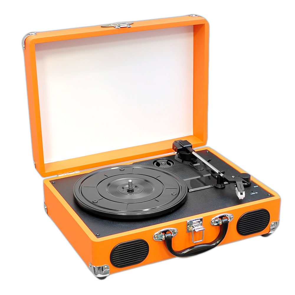 Upgraded Version Pyle Vintage Record Player, Classic Vinyl Player, Turntable, Rechargeable Batteries, MP3 Vinyl, Music Editing Software Included, USB-to-PC Connection, 3 Speed (Orange)