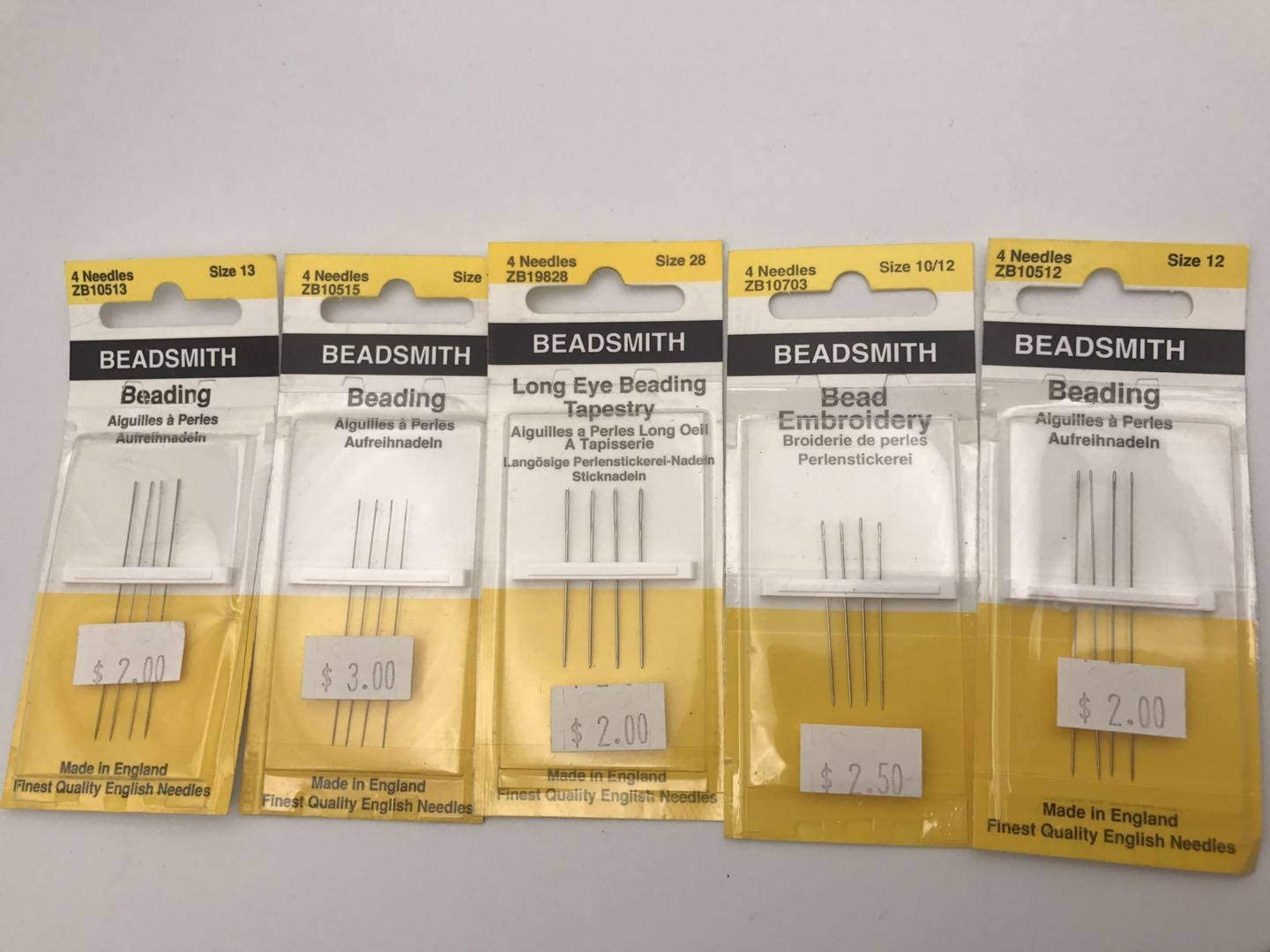 Arts and Craft JM Design BeadSmith Beading Needles Size 28 Package of 4 Needles for Jewelry Making