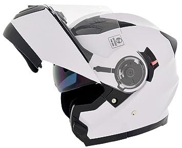 CRUIZER Casco Modular Moto Homologado ece-22 – 05, Blanco Brillante, ...