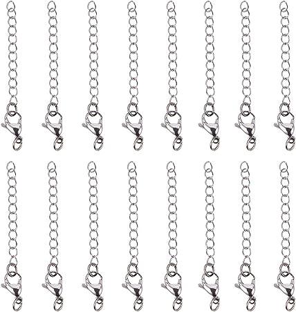 PandaHall Elite 20 pezzi bracciale collana estensore catena set aragosta artiglio catenacci in 304 acciaio inoxlunghezza 2,28 pollici per fare gioielli