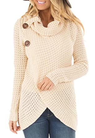 Kljr Women Casual Cowl Neck Chunky Cable Knit Wrap Pullover Sweater