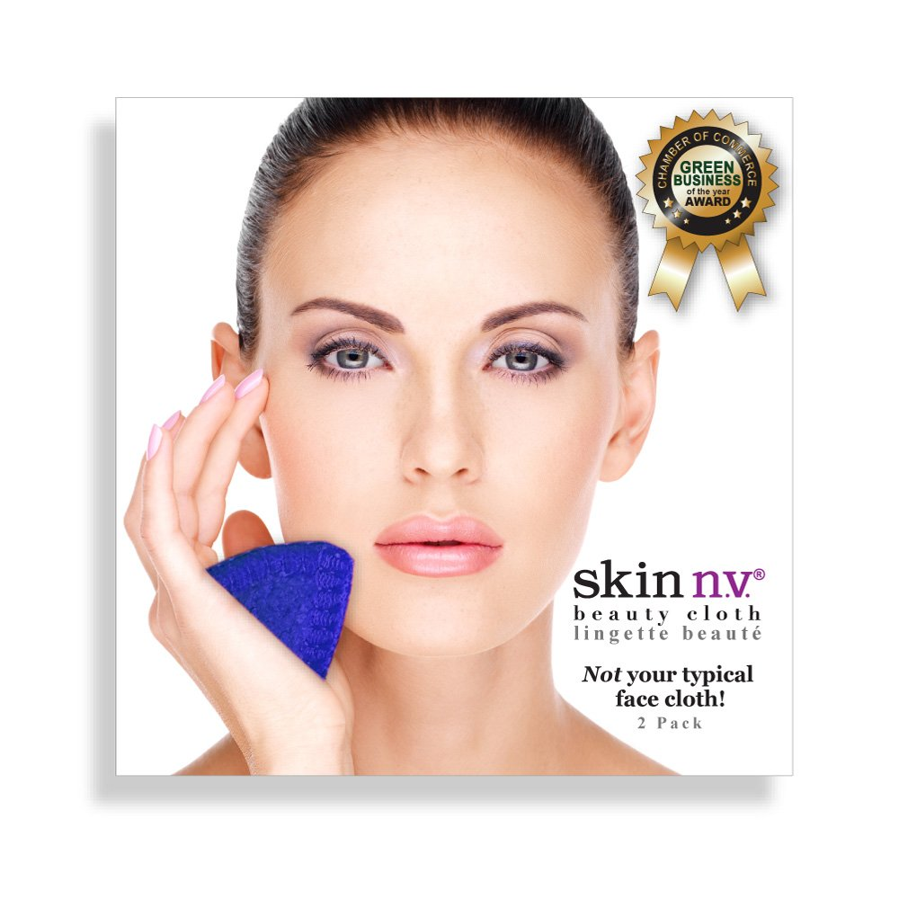 skin n.v. Facial Beauty Cloth - Cleans, Removes Makeup and Exfoliates • All-in-one • Reusable, Travel-friendly & Eco-friendly Face Cloth Alternative • Fluff-free • Highest Quality Fibres Like No Other • 2-pack of BLUE SKIN NV COSMETICS INC.