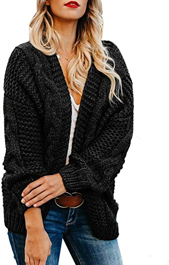 Size 10 Womens Cardigan Black Long with Fashion Belt and Button Front