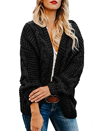 0b3a941eb5d Plus Size Womens Cardigan Sweaters Cable Knit Chunky Oversized Long Sleeve  Fall Winter Cardigans Black