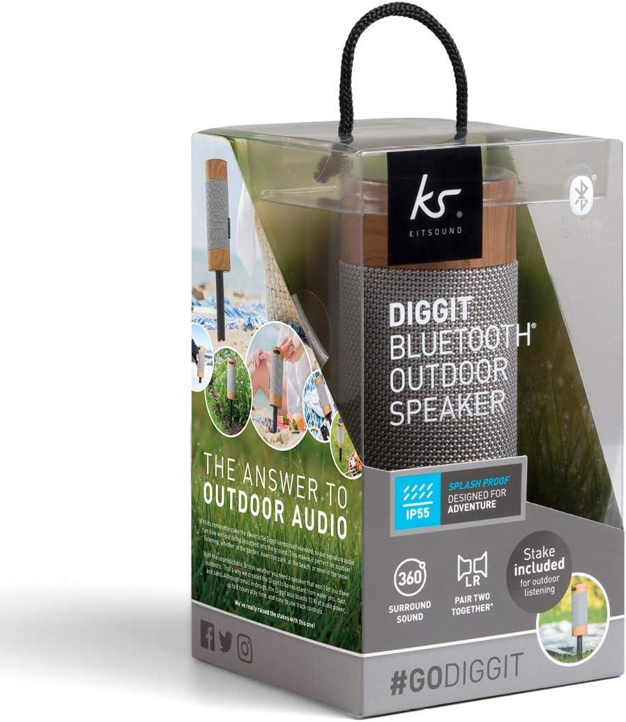 Kitsound Diggit Bluetooth Lautsprecher Für Draußen Silber Holz Audio Hifi