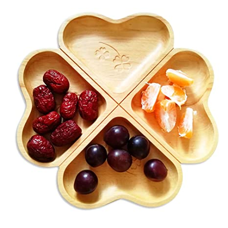Amazon.com | Decorative Wooden Divided Appetizer Plates 11 inch ...