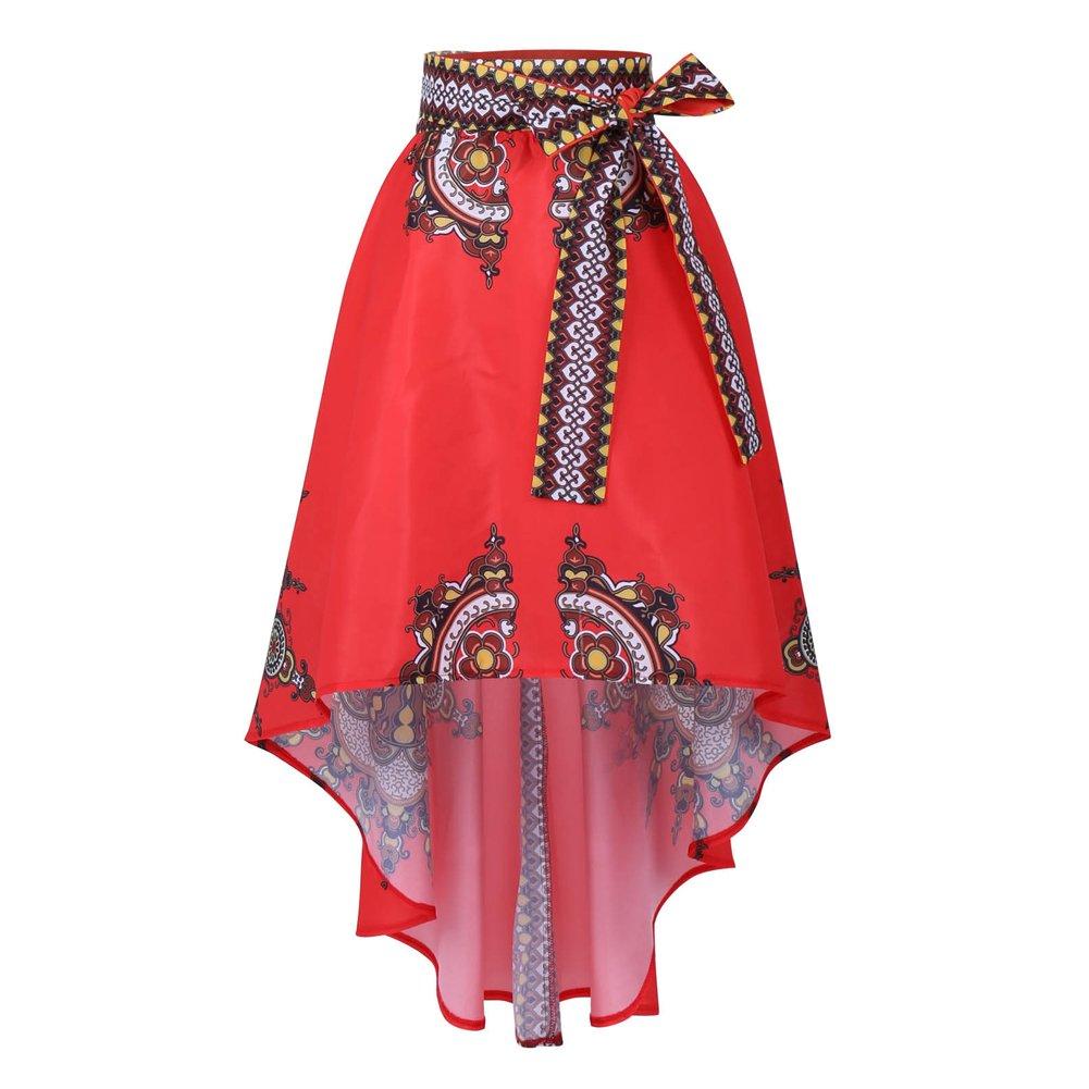 5219aaf41d Women Long Skirt African Fashion Printing Short Front Long Tail Umbrella  Shape Bust Skirt - Multi -: Amazon.co.uk: Clothing