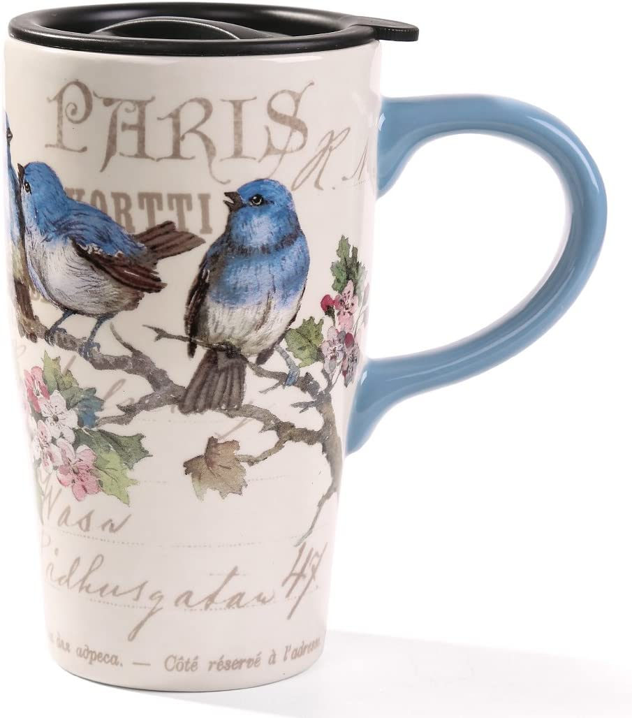 Minigift MN1006 Travel Cup, Tea Coffee Mug Beautiful Ceramic Cups with Lid, Mountain Milk Mug 16oz for Women Men Kids-Mountain Bluebird