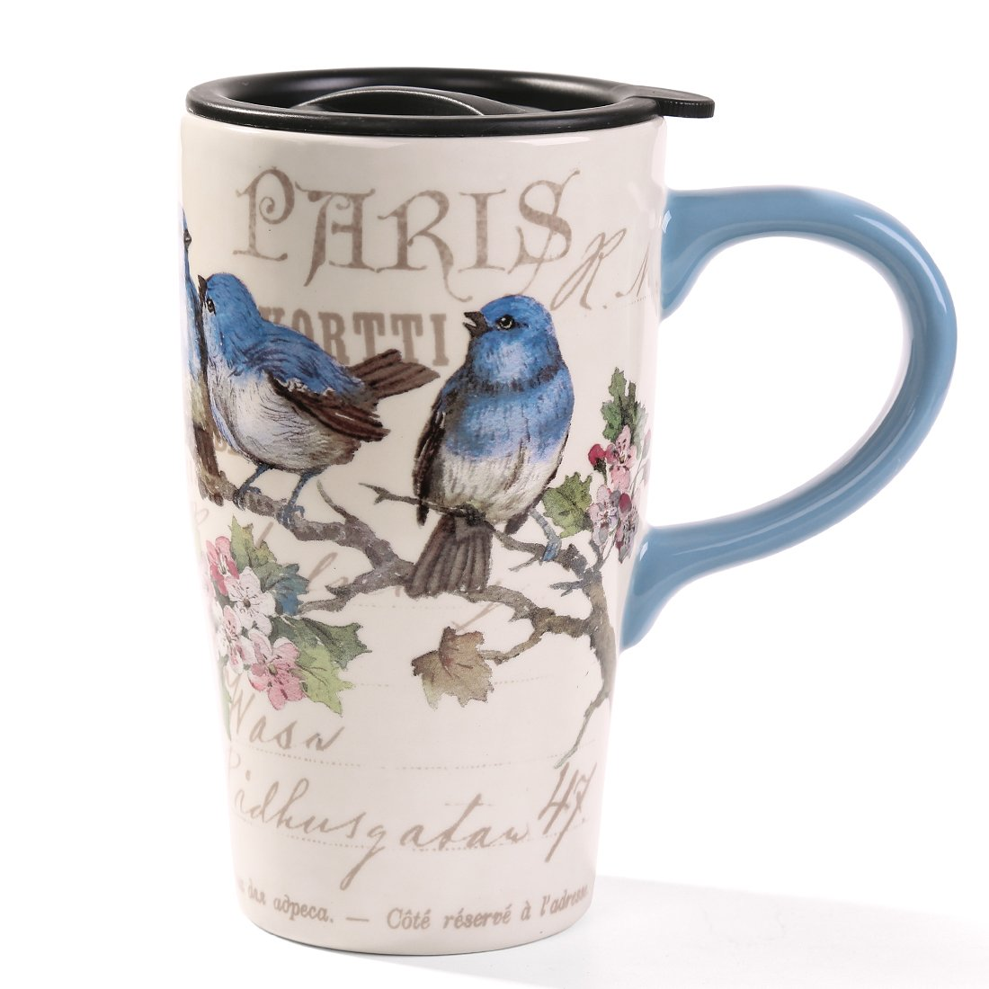 Minigift Ceramic Travel Coffee Mug 17oz (11 Designs for choice-Blue Birds)