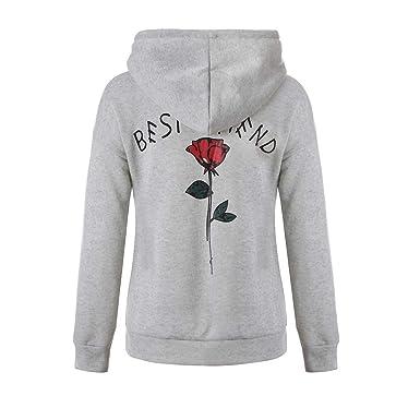 COOKI Womens Hoodies Women Best Friend Rose Long Sleeve Pullover Hoodies  Hooded Sweatshirts Jumpers Tops c9a887a1ce