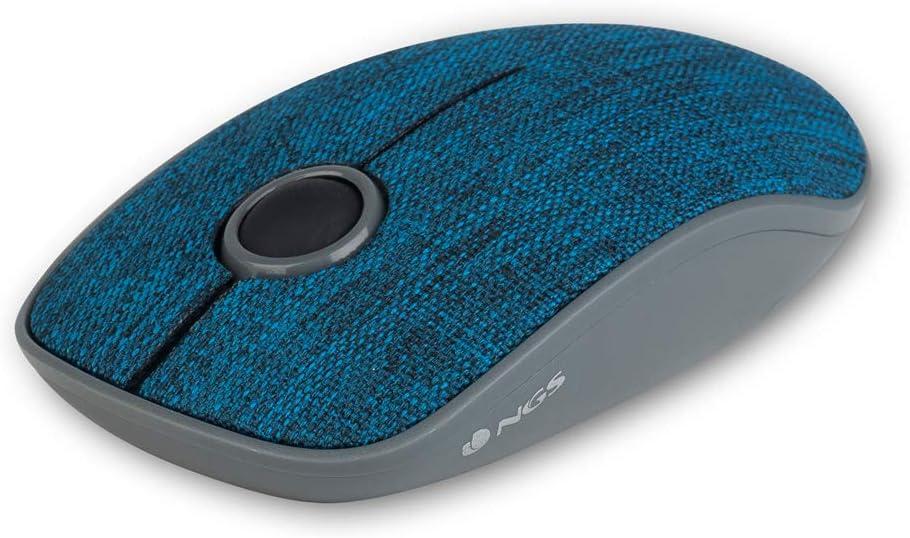 NGS EVO Denim Blue- Ratón inalámbrico óptico, ratón sin Cable, Tela Vaquera (Ambidextro, óptico, RF inalámbrico, 1200dpi, Azul)