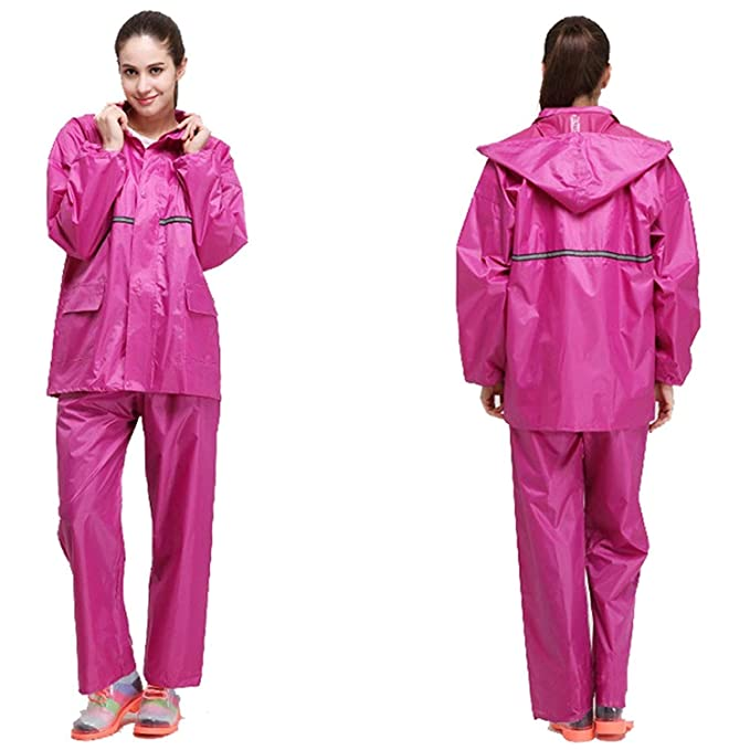 0ca10cc8e6b91 Chaqueta De para Lluvia Mujer Ligera Moda Color Sólido Chic Ropa  Impermeable Al Aire Libre Pantalones De Lluvia Abrigo con Capucha  Impermeable  Amazon.es  ...