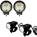 Vheelocityin combo of Circle 27 Watt 9 Led Auxillary Fog Lamp With 2PC U1 LED Auxiliary Fog Light