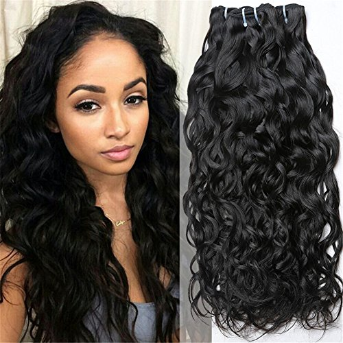 (Kaisheng Brazilian Hair Water Wave 3 Bundles Wet and Wavy Human Hair Bundles Unprocessed Virgin Hair Bundle Deals No Shedding Weave Extensions (12 14 16inch,natural black))