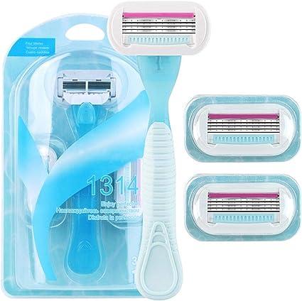Afeitadora manual para mujer, de afeitar desechable con 3 hojas ...