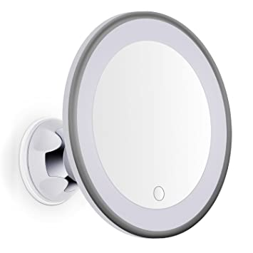 Bornku Shower Mirrors For Shaving B60 7x Magnifying LED Lighted Makeup Mirror Bathroom Vanity With