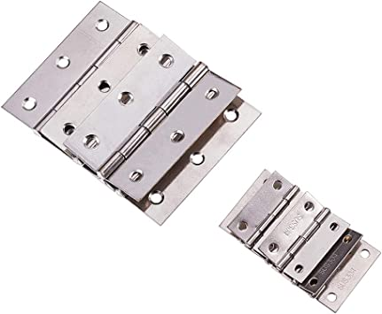 2 Door Hinges Stainless Steel Folding Butt Hinges Furniture Hardware with Screws