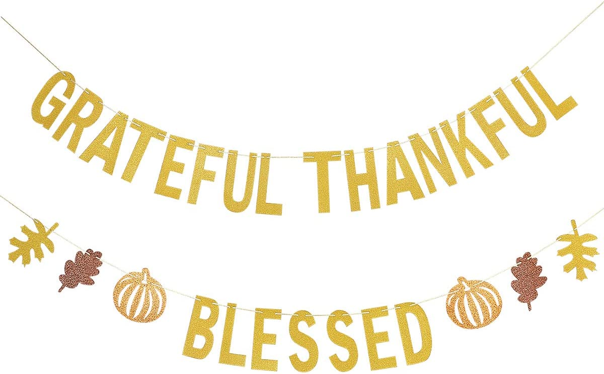 Grateful Thankful Blessed Gold Cutout Sign Wreath Door Decor Fall Thanksgiving Decor Gallery Wall