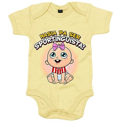 Body bebé nacida para ser Sportinguista Sporting Gijón fútbol - Amarillo, 6-12 meses
