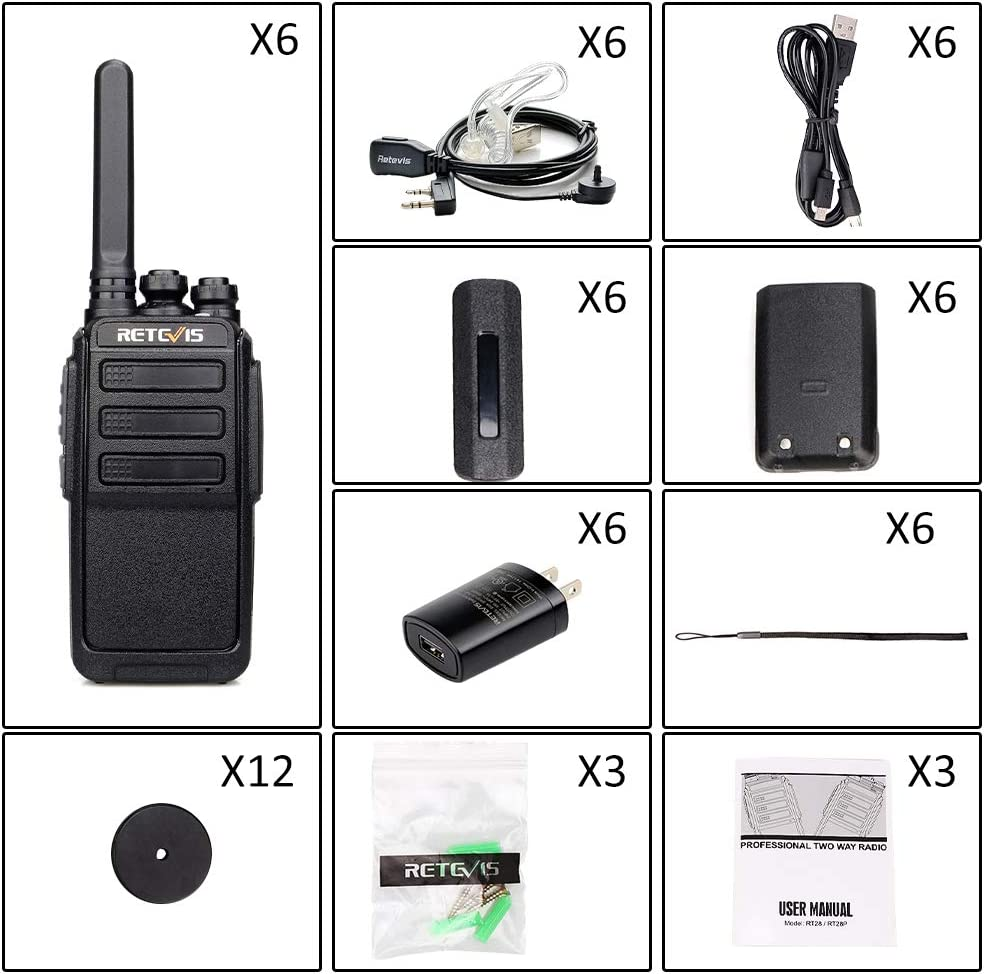 6 Pack Retevis RT28P Police Walkie Talkies Security Patrol Alert VOX FRS 16 CH Two Way Radio Long Range with Earpieces