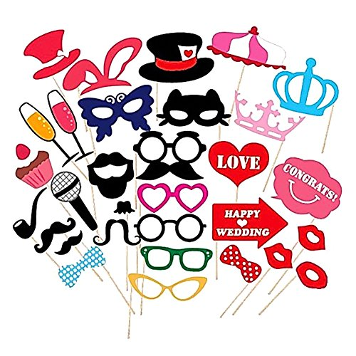 Diy Costume Hooves (Tangc 31Pcs Photo Booth DIY Mustache Stick Props Wedding Christmas Birthday Party Mask)