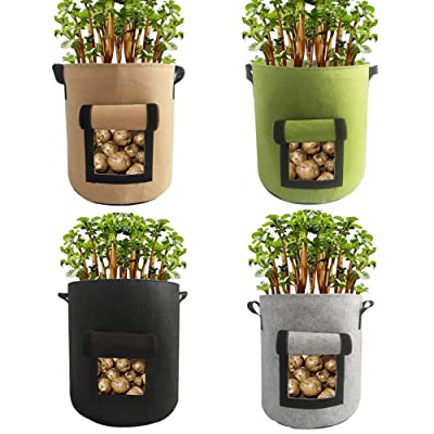 EIIORPO Potato Plant Bags 4 Pack Colorful Mix, Durable Grow Bags 4/7/10 Gallon Nonwoven Aeration Fabric Pots with Handles, Grow Containers for Vegetable/Flower/Nursery. (4-Pack-10 Gallon) : Garden & Outdoor