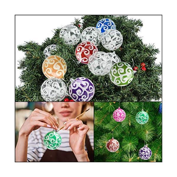 Belle Vous Palline di Natale Trasparenti (Set da 12) - Palle di Natale Plastica da 7,7cm con Vortice Bianco - Palle Natale Plastica Trasparente con Spago per Decorazioni Natale e Addobbi Albero Natale 4 spesavip