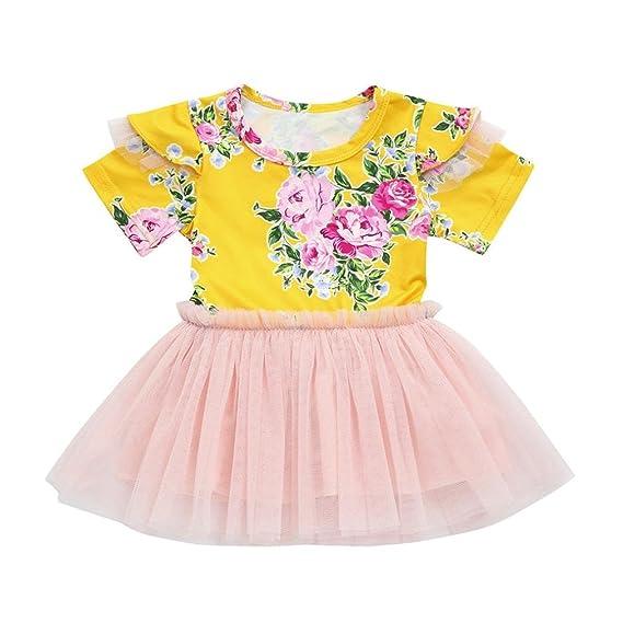 Vestido Para Bebé NiñAs DRESS Start® Vestido Floral NiñA Encaje Sin Mangas De Cuello Redondo