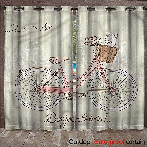 - cobeDecor Dog Home Patio Outdoor Curtain Postcard from Paris Bicycle W72 x L108(183cm x 274cm)