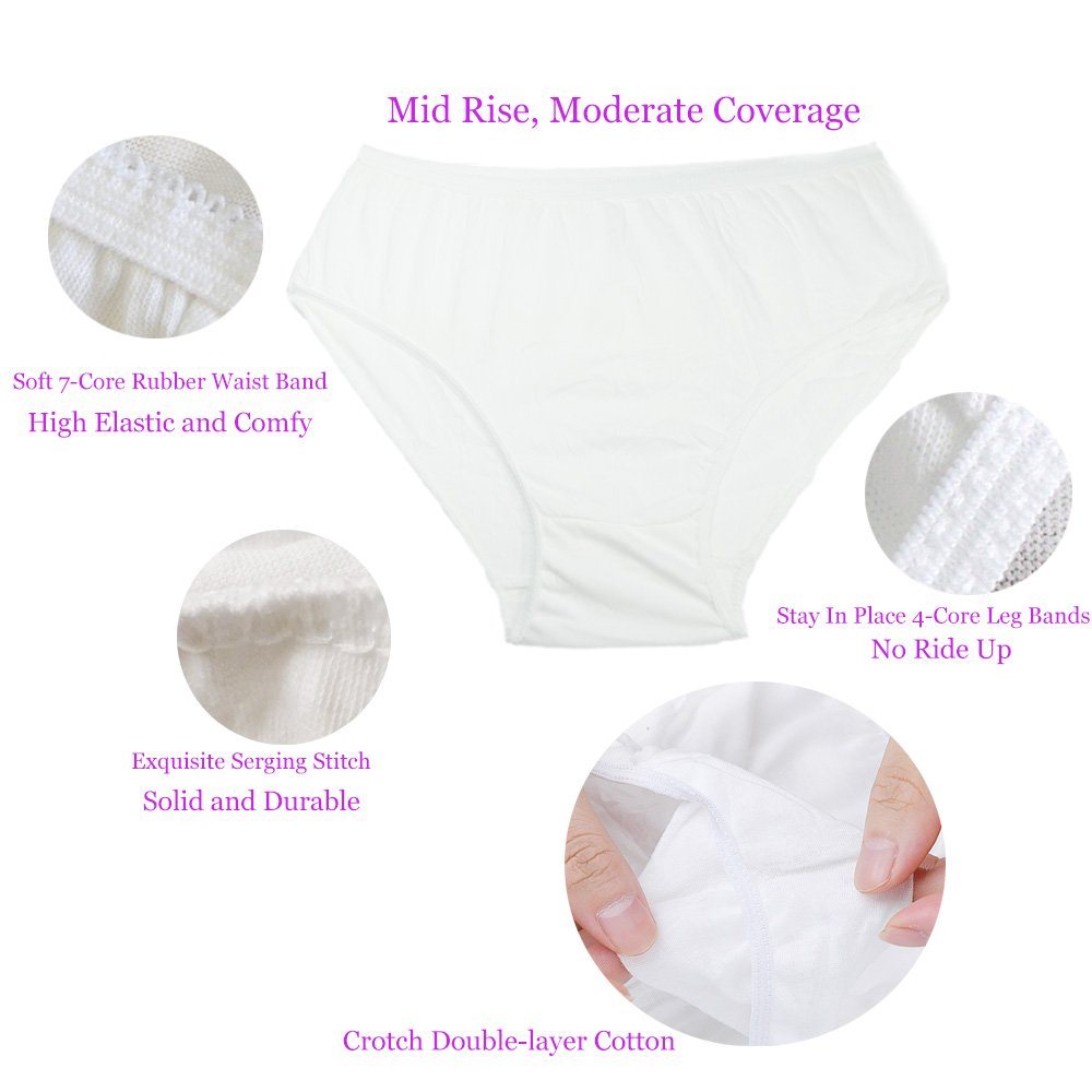 29e52d8a471 Women s Disposable 100% Cotton Underwear for Travel Hotel Spa White Color  (10PCS Pack)  Amazon.co.uk  Clothing