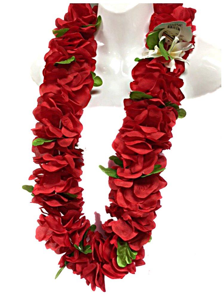 Hawaiian Red Silk Flowers Floral Luau Hula Graduation Lei