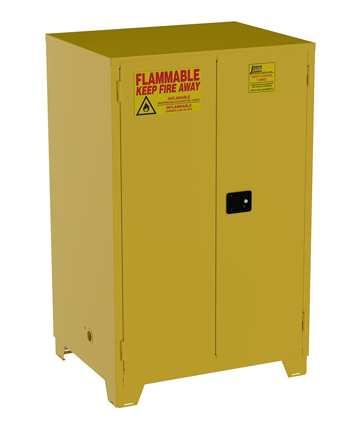 Jamco Products Inc FM90 YP Safety Flammable Cabinet, Two Door, Manual  Close, 43 Inch X 34 Inch X 69 Inch   Tool Cabinets   Amazon.com
