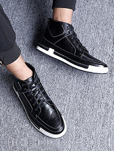 Plaid&Plain Mens High Top Sneakers Boots Skate Shoes Leather High Tops B-black-fleece 21YUvBHrz