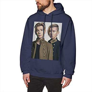 WEEKEND SHOP Marcus and Martinus Hoodie Pullover Hoodie Cotton Male Long Length XXL Hoodies Navy Blue