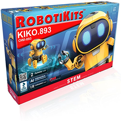 OWI Kiko.893 Interactive A/I Capable Robot with Infrared Sensor Two Play Modes | Follow Me Or Explore Develops Own Emotions and Gestures Sound and Lighting Effects | DIY Robot 9OWI893