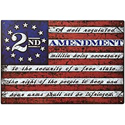 "This Well Defend 2nd Amendment Brand Vintage American Flag Tin Sign 11"" x 16"" USA Second 2A Man Cave Decor"