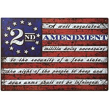 "2nd Amendment Brand Vintage American Flag Tin Sign 11"" x 16"" USA Second 2A Man Cave Decor"
