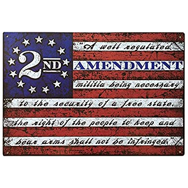 This Well Defend 2nd Amendment Brand Vintage American Flag Tin Sign 11  x 16  USA Second 2A Man Cave Decor