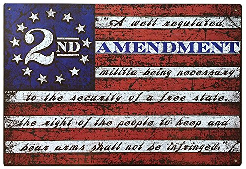 This Well Defend 2nd Amendment Brand Vintage American Flag Tin Sign 11