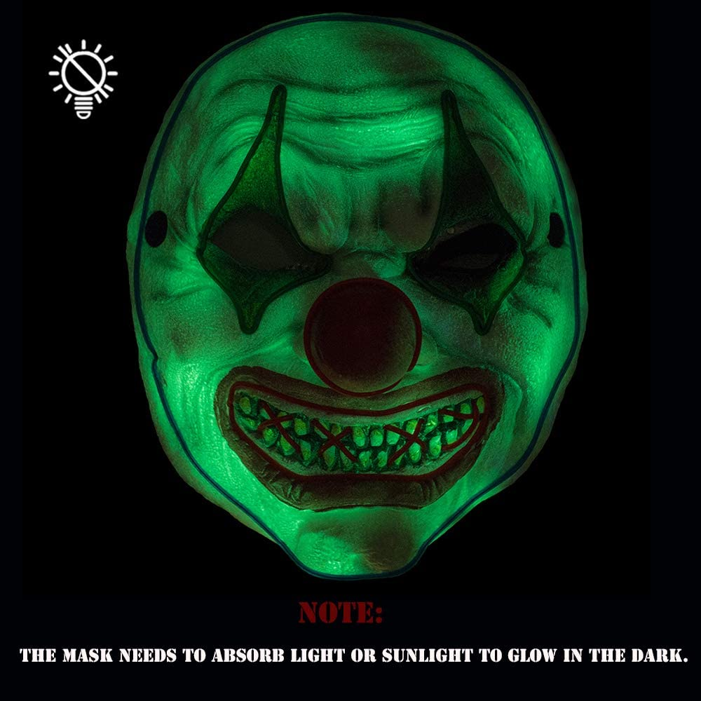 Halloween Scary Led Mask Light Up Evil Clown Purge Masks Changeable Party for Frightening Festival Cosplay Costume Night Glow El Parties Decoration