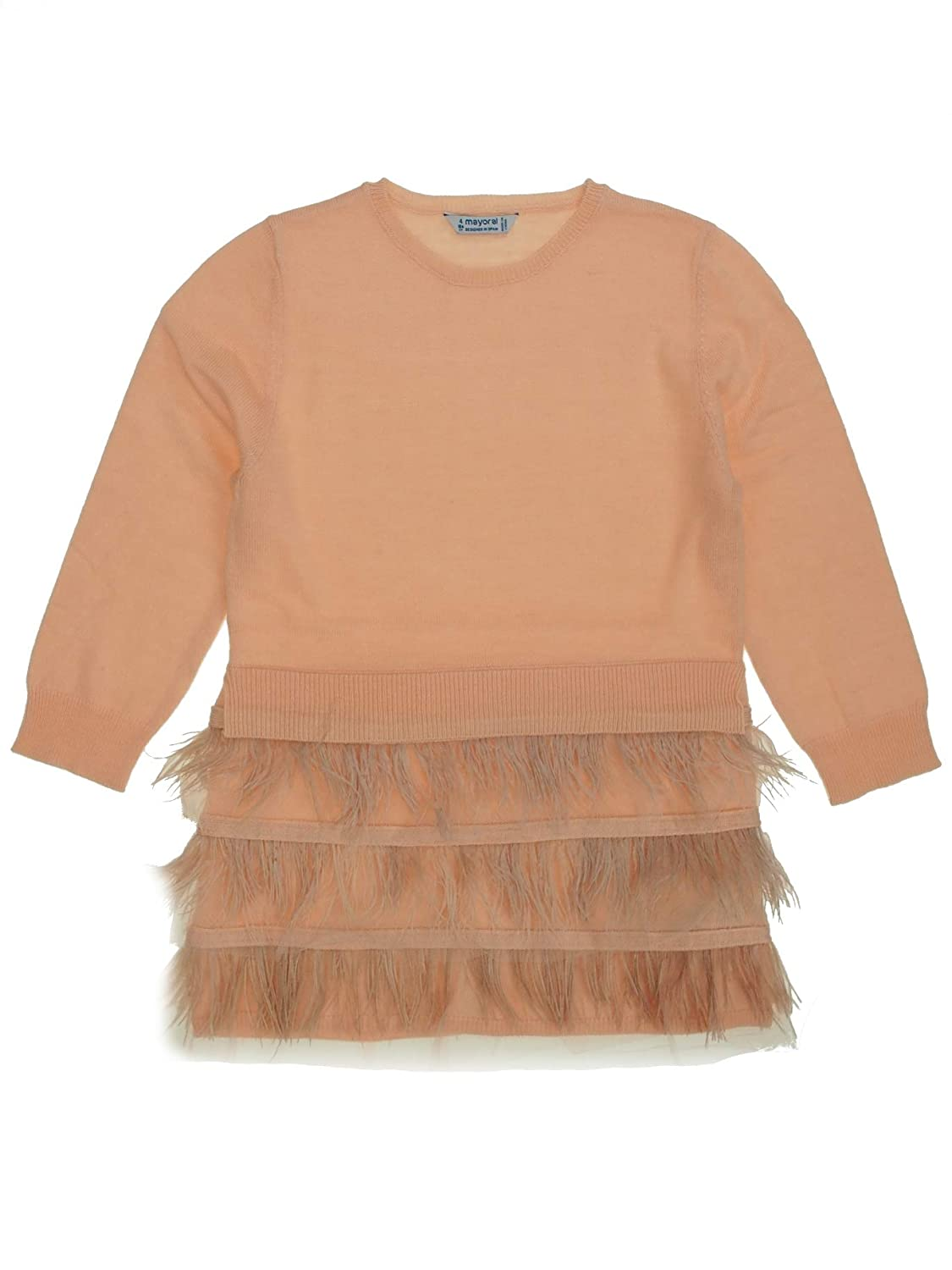 Mayoral - Robe Tricot Plumes pour Fille - 4930, Nude