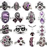 Ten (10) of Assorted Shades of Purple Crystal Rhinestone Beads February Bithstonecharms Spacers Charm Beads for Snake Chain Charm Bracelets