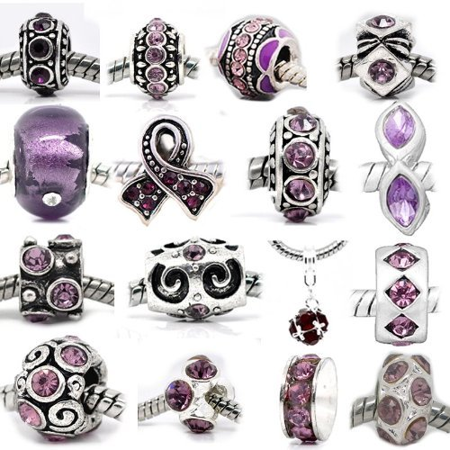 Shades Jewelry (Ten (10) of Assorted Shades of Purple Crystal Rhinestone Beads February Bithstonecharms Spacers Charm Beads for Snake Chain Charm Bracelets)