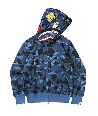 cebf2beb Amazon.com: Men's A Bathing Ape BAPE Shark Head Thin Coat Full Zipper  Camouflage Jacket Hoodie: Clothing